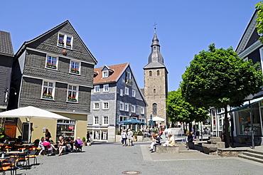 Bell tower, Johanniskirche, St. John's Church, historic town, Hattingen, North Rhine-Westphalia, Germany, Europe