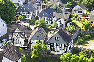 Town view with half-timbered houses, historic town, Blankenstein, Hattingen, North Rhine-Westphalia, Germany, Europe