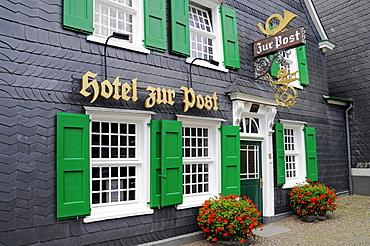 Hotel zur Post hotel, slate cladding, historic centre, Graefrath, Solingen, Bergisches Land region, North Rhine-Westphalia, Germany, Europe