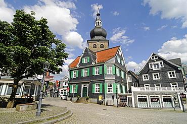 Alter Markt market place, church, half-timbered house, slate, historic centre, Lennep, Remscheid, Bergisches Land area, North Rhine-Westphalia, Germany, Europe
