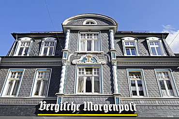 Bergische Morgenpost regional newspaper, half-timbered house, slate cladding, historic centre, Hueckeswagen, Bergisches Land area, North Rhine-Westphalia, Germany, Europe