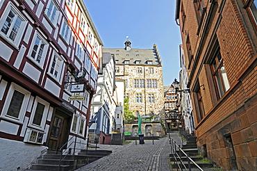 Steile Strasse street, historic half-timbered houses, historic centre, Marburg, Hesse, Germany, Europe