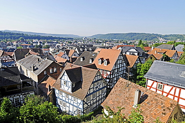 Historic half-timbered houses, old town, city view, Marburg, Hesse, Germany, Europe