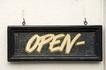 Sign, Open, England, Great Britain, Europe