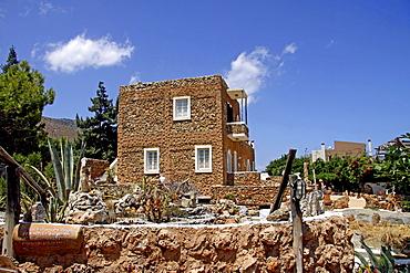 Building with a cactus garden, Lychnostatis Open Air Museum, museum of traditional Cretan life, Hersonissos, Crete, Greece, Europe
