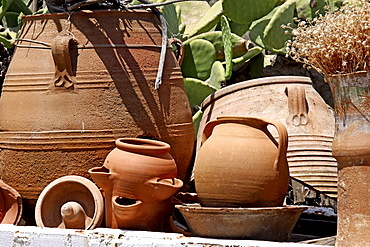 Clay and ceramic pots, Lychnostatis Open Air Museum, museum of traditional Cretan life, Hersonissos, Crete, Greece, Europe