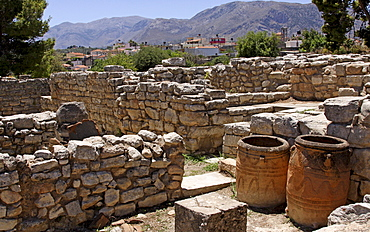 Clay jugs and jars, Minoan excavations, Tylissos, Crete, Greece, Europe