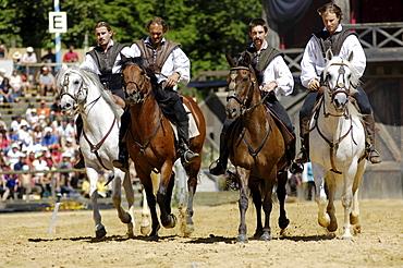 Four horsemen riding horses, Knights' Tournament in Kaltenberg, Upper Bavaria, Bavaria, Germany, Europe