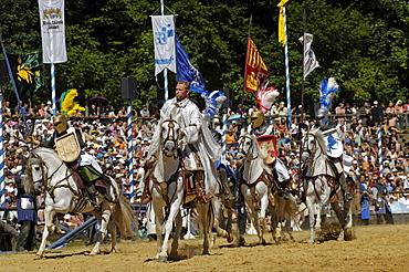 Knights riding horses, Knights' Tournament in Kaltenberg, Upper Bavaria, Bavaria, Germany, Europe