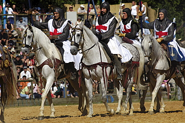 For crusaders riding horses, Knights' Tournament in Kaltenberg, Upper Bavaria, Bavaria, Germany, Europe