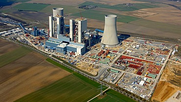 Aerial photo, lignite-fired power plant, generating unit with optimised systems engineering, RWE Power AG, Grevenbroich-Neurath, North Rhine-Westphalia, Germany, Europe