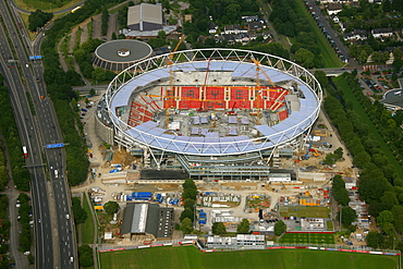 Aerial photograph construction site Bay Arena soccer stadium, Bayer 04 Leverkusen, Leverkusen, North Rhine-Westphalia, Germany, Europe