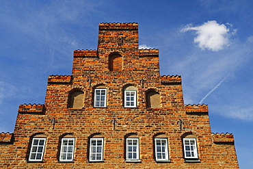 Historic town mansion with typical stepped gable in the historic center of Luebeck, Schleswig-Holstein, Germany, Europe