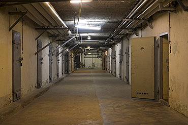"""Berlin-Hohenschoenhausen memorial, former prison of the GDR's secret service, basement corridor in the """"U-Boat"""" tract with cells for solitary confinement, Berlin, Germany, Europe"""