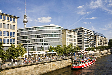 Banks of the Spree River, Spree Palais, new buildings, shipping pier, Radisson hotel, Mitte, Berlin, Germany