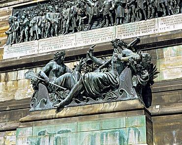 Detail of the Niederwald Denkmal monument near Ruedesheim, Hesse, Germany
