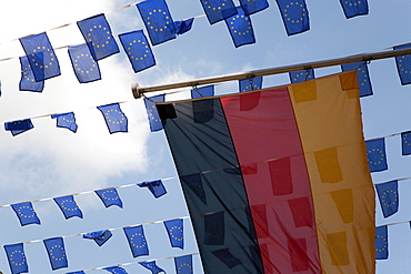 German national flag and little flags, Europe Day in Muenster, North Rhine-Westphalia, Germany, Europe