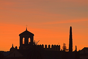 The silhouette of the castle of Cordoba, Alcazar de lo Reyes, sunset, Andalusia, Spain, Europe