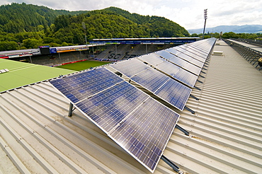 Solar array on the roof of the stadium of the SC Freiburg soccer team, Freiburg im Breisgau, Baden-Wuerttemberg, Germany, Europe
