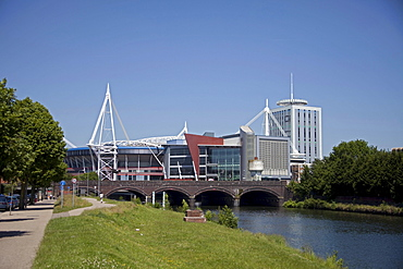 Millennium Stadium, view from river, Cardiff, Wales, United Kingdom, Europe