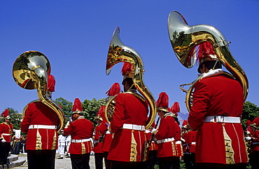 Band during a ceremony on the occasion of the affiliation of the Ionian Islands and Greece, Corfu Town, Corfu Island, Greece, Europe