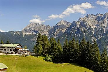 Mountain restaurant St. Anton with Karwendel mountain range, Kranzberg, Mittenwald, Werdenfelser Land, Upper Bavaria, Germany, Europe