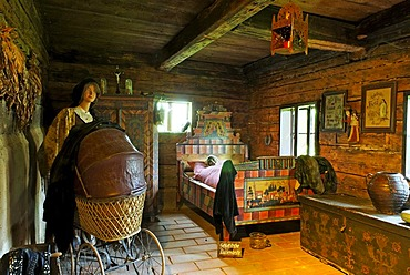 Chamber with a bed, Farmhouse Museum Lindberg, Bavarian Forest, Lower Bavaria, Bavaria, Germany, Europe
