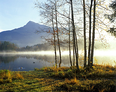 Schwarzsee lake near Kitzbuehl in front of the Kitzbuehler Horn, Tyrol, Austria, Europe