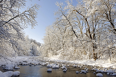 Winterly snowy river, Mangfall near Louisenthal, near Tegernsee lake, Bavaria, Germany, Europe
