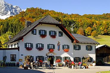 Mesnerwirt Restaurant at the pilgrimage church Maria Ettenberg near Marktschellenberg, Berchtesgadener Land, Upper Bavaria, Germany, Europe
