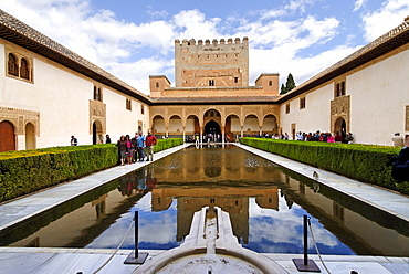 Court of the myrtles and Torre de Comares, Alhambra, Granada, Andalusia, Spain, Europe