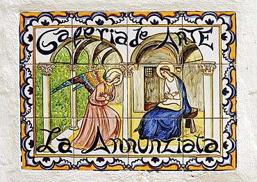 Annunciation, tilework picture, Arcos de la Frontera, Andalusia, Spain, Europe