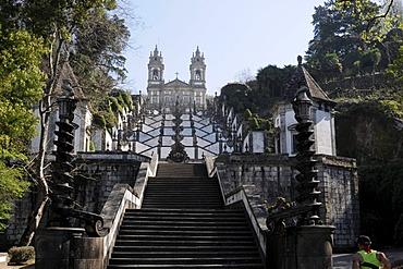 Stairs to the Bom Jesus pilgrimage site, Braga, North Portugal, Europe
