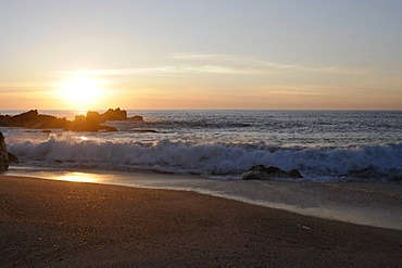 Sunset on the beach of Villa Cha, North Portugal, Europe