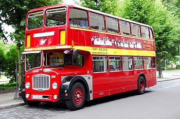 English bus, Routemaster, sightseeing tours, Leipzig, Saxony, Germany, Europe