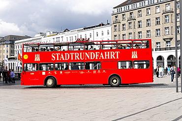 Bus, sightseeing tour, Hanseatic City of Hamburg, Germany, Europe