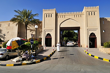 Entrance gate to the modern Nizwa Souk, Hajar al Gharbi Mountains, Dhakiliya Region, Sultanate of Oman, Arabia, Middle East
