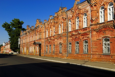 Historic brick building in the historic centre of Bijsk, Siberia, Russia, Asia