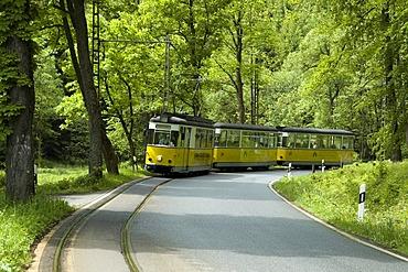 Tram in Kirnitschtal Valley, Saxon Switzerland, Elbsandsteingebirge, Elbe Sandstone Mountains, Saxony, Germany