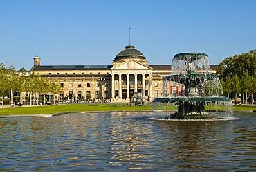 Bowling Green, fountain, Kurhaus, Wiesbaden, Hesse, Germany