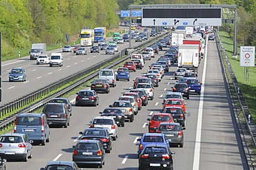 Traffic jam on the A 81 Stuttgart - Karlsruhe just before the motorway junction Leonberg, Baden-Wuerttemberg, Germany, Europe
