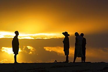 Fishermen at sunrise, Canal des Pangalanes, East Madagascar, Africa