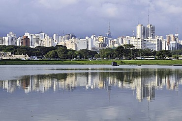 View from the Parque de Ibirapuera park on the high-rise buildings of the Zona Sul, Sao Paulo, Brazil, South America