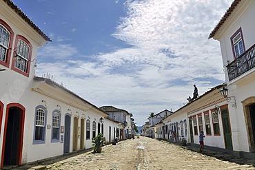 Street in the baroque historic city of Paraty, Parati, Rio de Janeiro, Brazil, South America