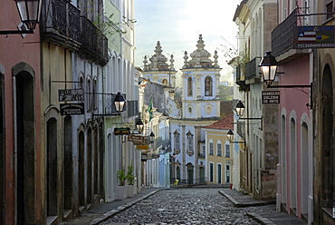 View of Largo do Pelourinho square and church Igreja do Rosario dos Pretos, Salvador, Bahia, UNESCO World Heritage Site, Brazil, South America