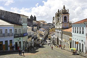 Largo do Pelourinho square and church Igreja do Rosario dos Pretos, Salvador, Bahia, UNESCO World Heritage Site, Brazil, South America
