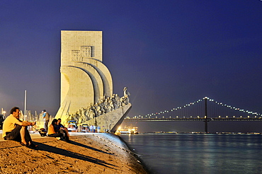 Monument to the Discoveries, Padrao dos Descobrimentos, with great people of the Portuguese seafaring history, on the estuary of the Tagus river, Belem, Lisbon, Portugal, Europe