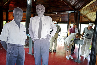 Cardboard cut-out of Bernhard Grzimek with the former Tanzanian President Julius Nyerere in the visitor center of Seronera, Serengeti National Park, Tanzania, Africa