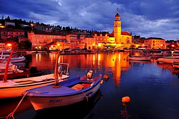 Fishing boats in the harbor of Sutivan in front of the church Sveti Ivan, Island Brac, Dalmatia, Croatia, Balkans, Europe