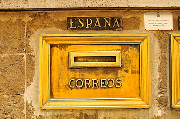 Nostalgic mailbox at the post office of Soller, Majorca, Balearic Islands, Spain, Europe